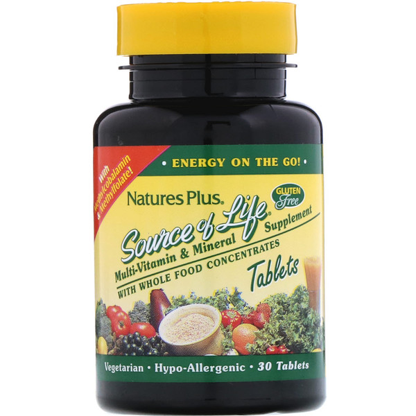 Nature's Plus, Source of Life, Multi-Vitamin & Mineral Supplement with Whole Food Concentrates, 30 Tablets (Discontinued Item)