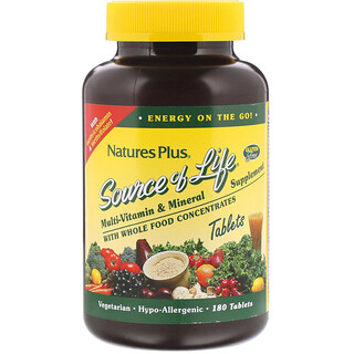 Nature's Plus, Source of Life, Multi-Vitamin & Mineral Supplement with Whole Food Concentrates, 180 Tablets