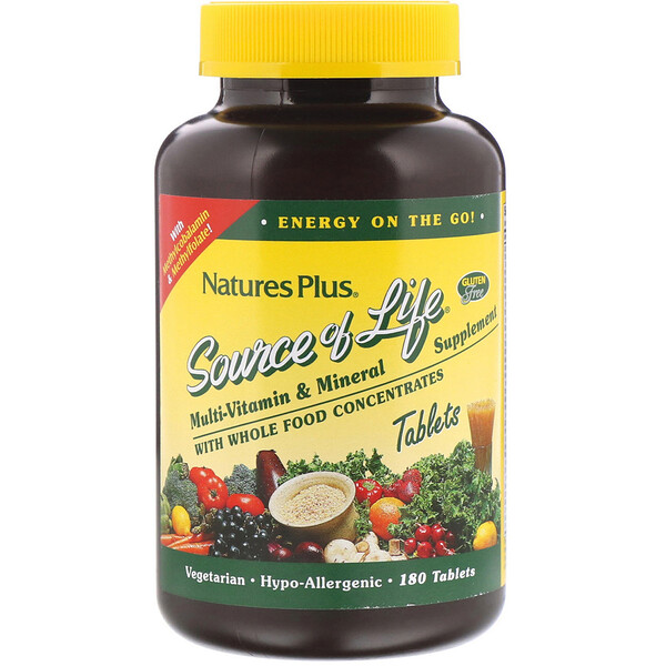 Source of Life, Multi-Vitamin & Mineral Supplement with Whole Food Concentrates, 180 Tablets