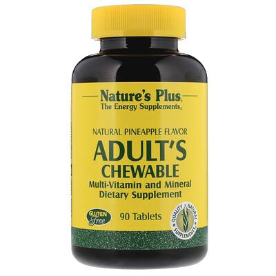 Купить Nature's Plus жевательные мультивитамины и минералы для взрослых, натуральный вкус ананаса, 90 таблеток