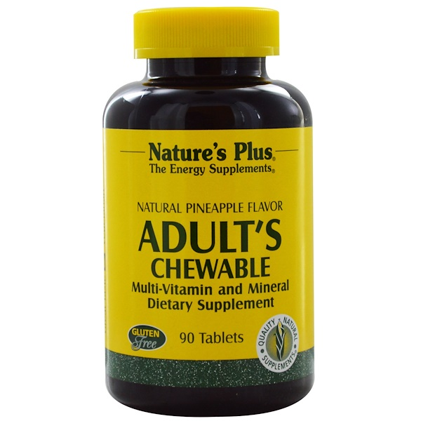 Nature's Plus, Adult's Chewable Multi-Vitamin and Mineral, Natural Pineapple Flavor, 90 Tablets
