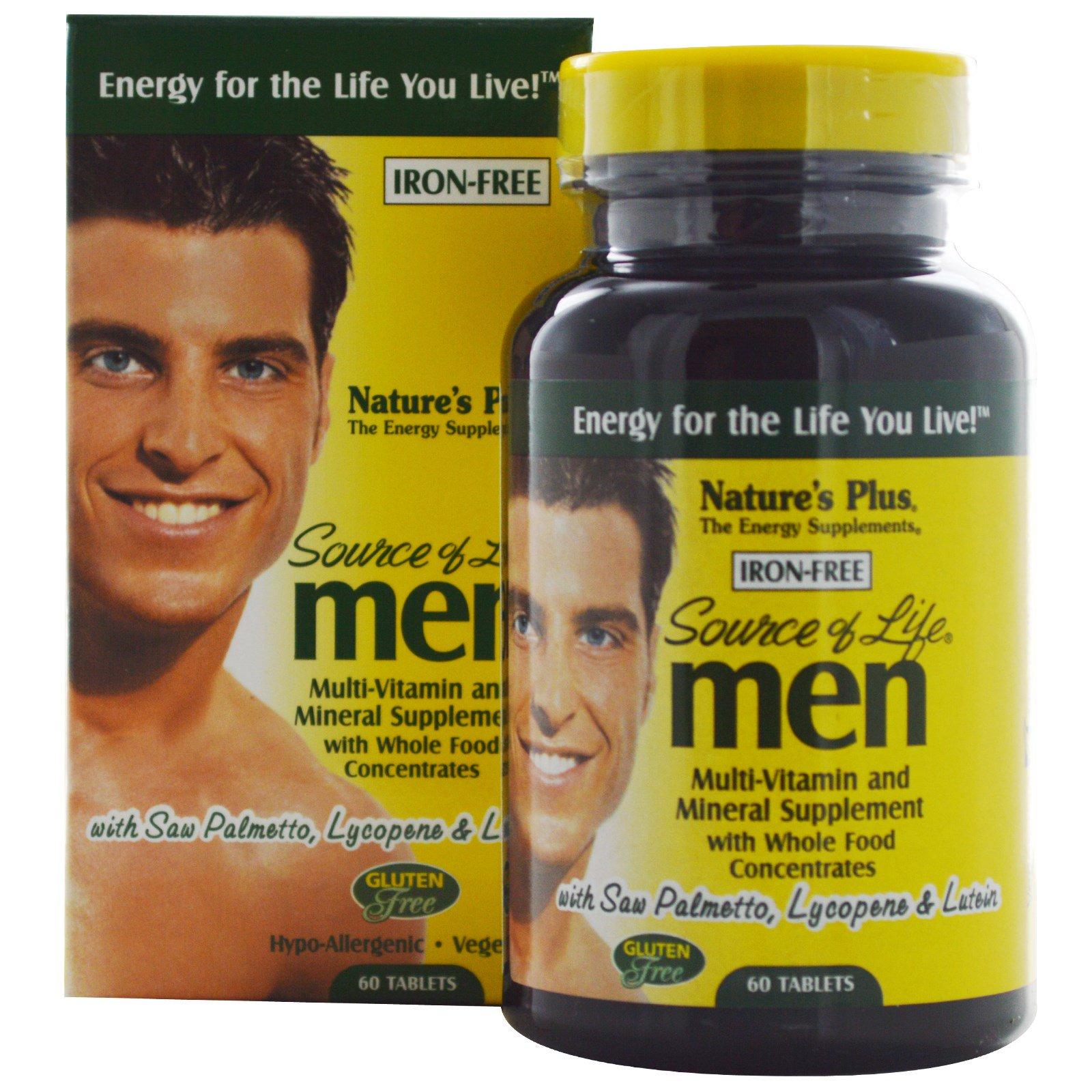 Nature's Plus, Source of Life, Мультивитаминная и минеральная добавка для мужчин, без железа 60 таблеток