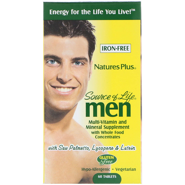 Nature's Plus, Source of Life, Men, Multi-Vitamin and Mineral Supplement, Iron-Free, 60 Tablets (Discontinued Item)
