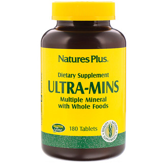 Nature's Plus, Ultra-Mins, Multiple Mineral with Whole Foods, 180 Tablets