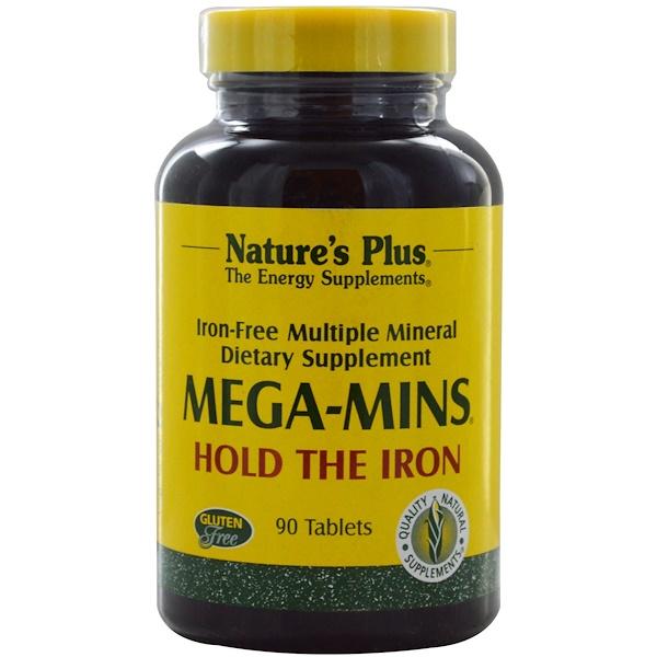 Nature's Plus, Mega-Mins, Iron Free Multiple Mineral, 90 Tablets (Discontinued Item)