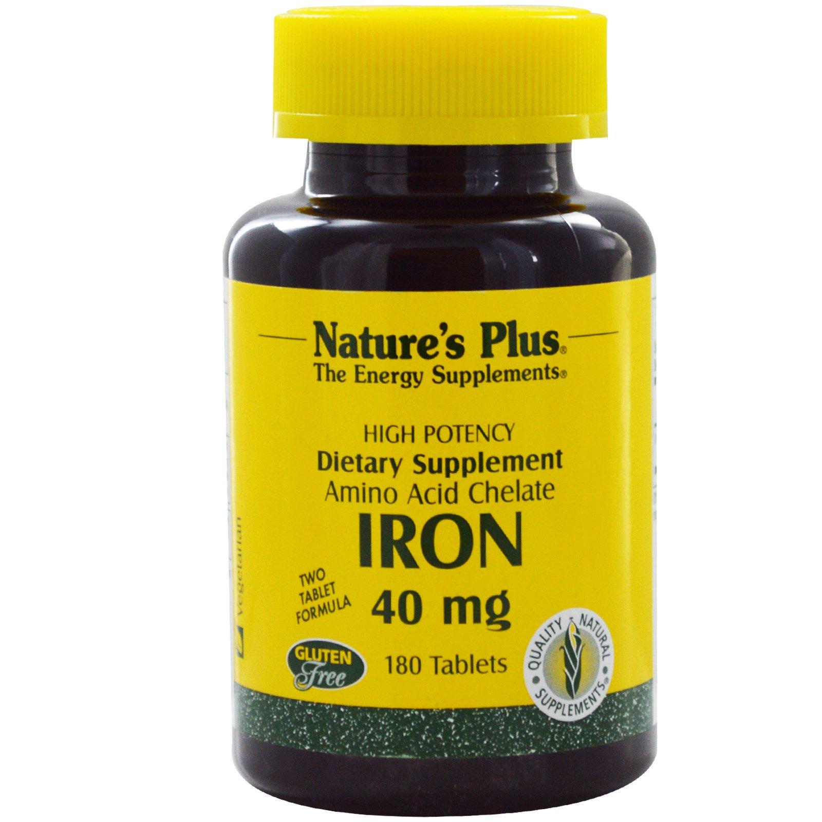 Nature's Plus, Железо, 40 мг, 180 таблеток