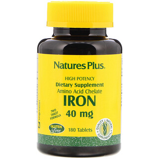 Nature's Plus, 鉄、 40 mg、 180タブレット