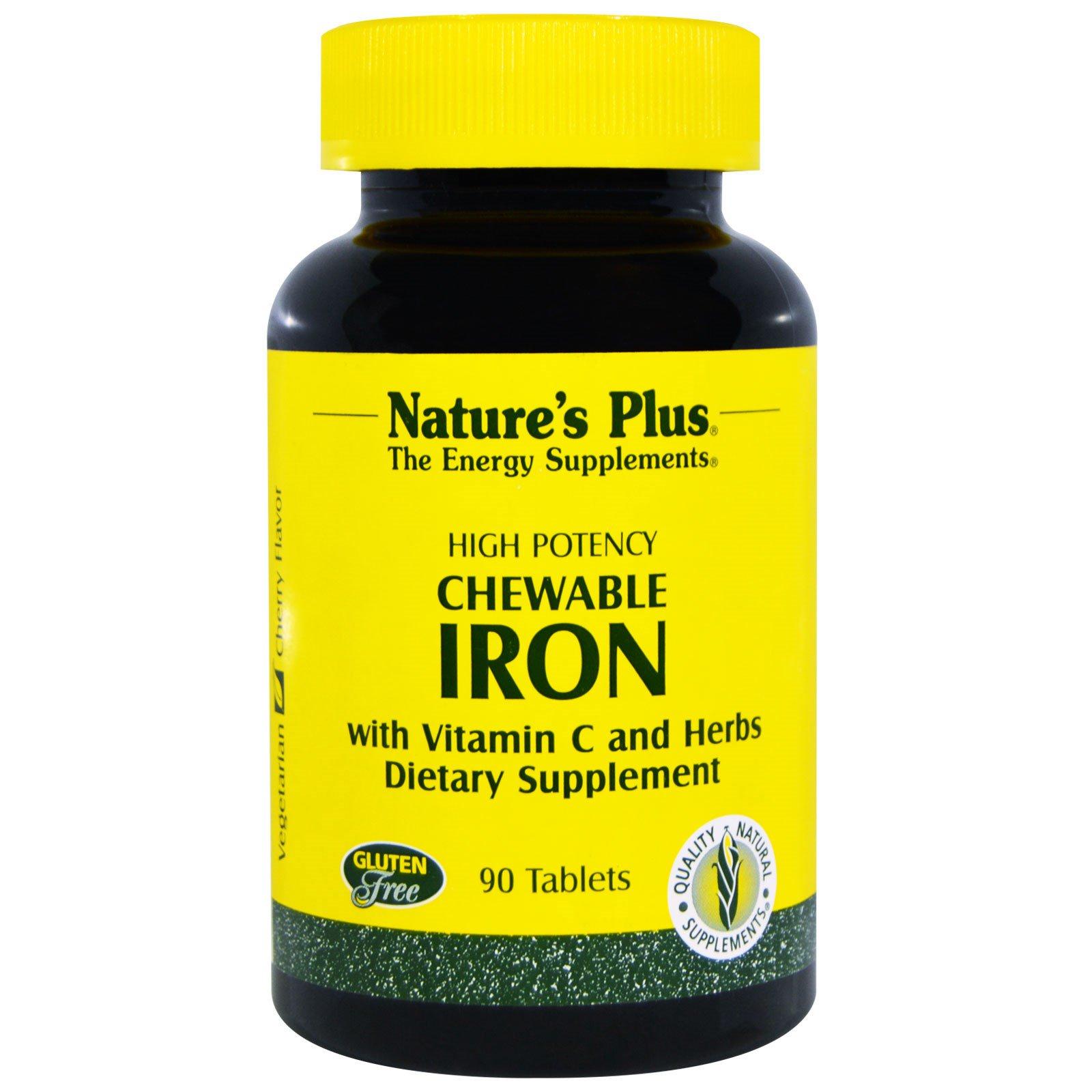 Nature's Plus, Железо в жевательной форме, со вкусом вишни, 90 таблеток