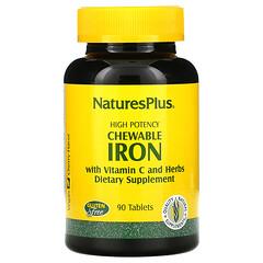 Nature's Plus, 高效鐵咀嚼片,含維生素 C 和草本成分,櫻桃味,90 片