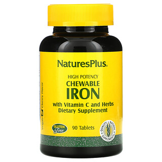 Nature's Plus, High Potency Chewable Iron with Vitamin C and Herbs, Cherry, 90 Tablets
