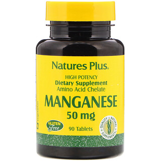 Nature's Plus, Manganeso, 50 mg, 90 comprimidos