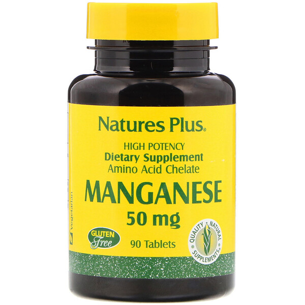 Nature's Plus, Manganês, 50 mg, 90 comprimidos