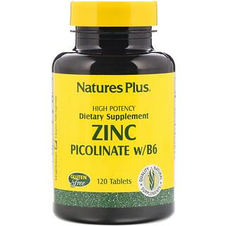 Nature's Plus, 亜鉛ピコリネート・B-6、 120タブレット