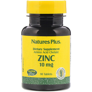 Nature's Plus, Cinc, 10 mg, 90 Tabletas