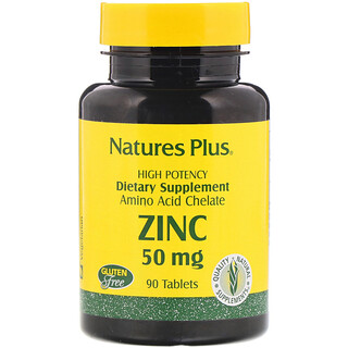 Nature's Plus, Zinc, 50 mg, 90 comprimidos