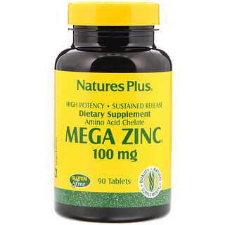 Nature's Plus, Mega Zinc, 100 mg, 90 Tabletas