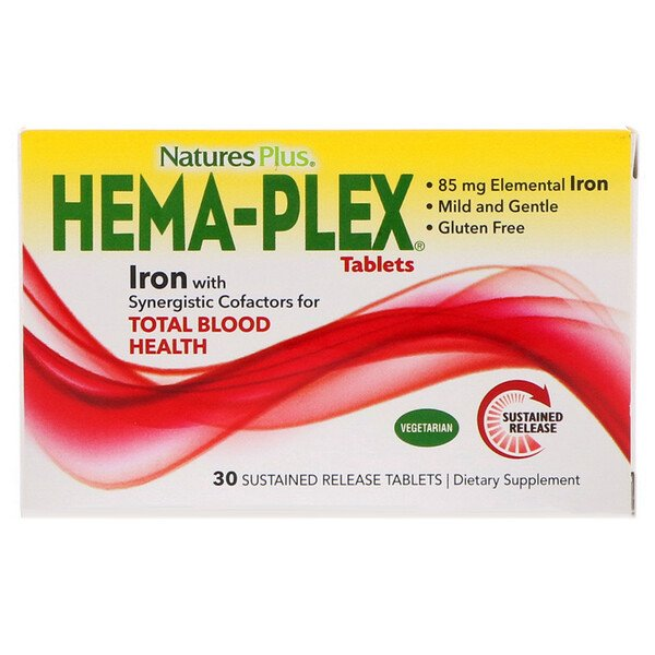 Nature's Plus, Hema-Plex, 30 טבליות בשחרור מושהה