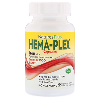 Nature's Plus, Hema-Plex, 60 cápsulas vegetarianas