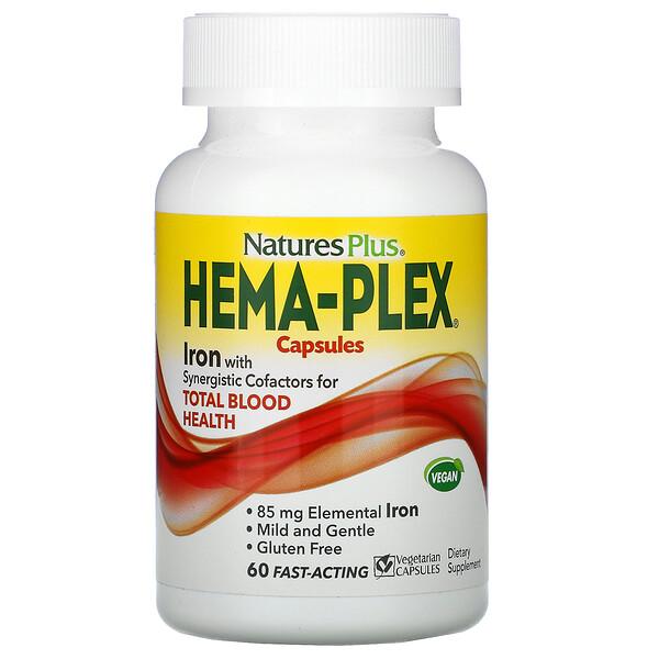 Nature's Plus, Hema-Plex Capsules, 60 Fast-Acting Vegetarian Capsules
