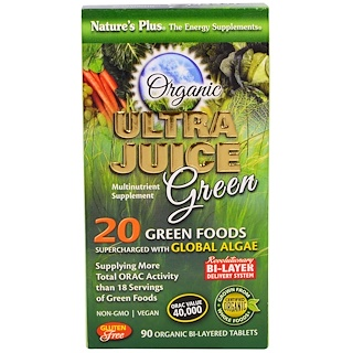 Nature's Plus, オーガニック ウルトラジュースグリーン 、 90 オーガニック バイレイレッドタブレット
