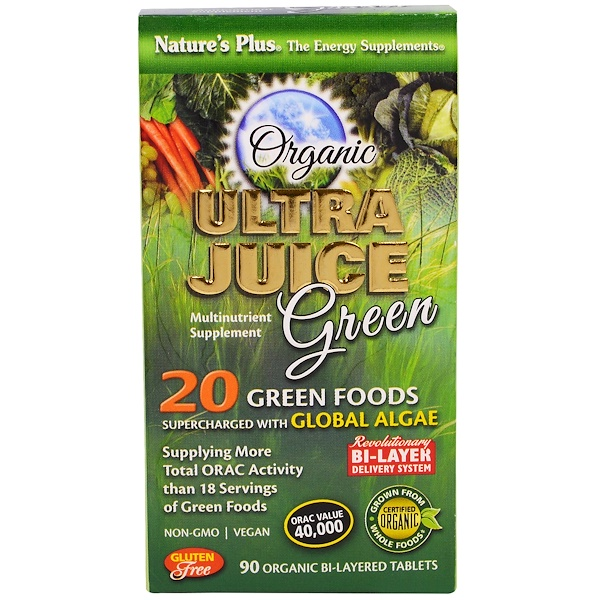 Nature's Plus, Organic Ultra Juice Green , 90 Organic Bi-Layered Tablets