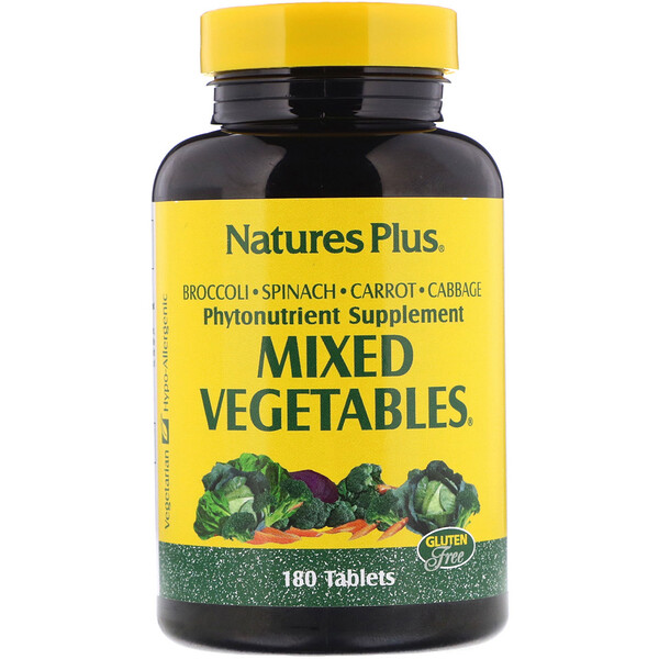 Nature's Plus, Mixed Vegetables (Vetegales Mixtos), 180 Tabletas