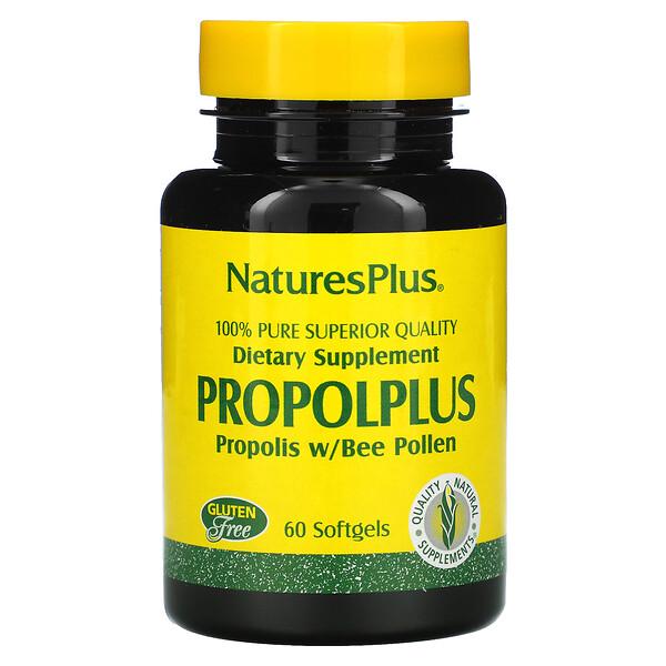 Propolplus, Própolis com Pólen de Abelha, 60 Cápsulas de Gel