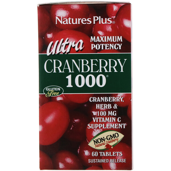 Nature's Plus, Ultra Cranberry 1000, 60 pastillas