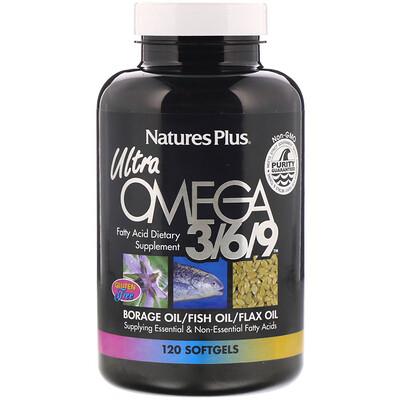 Nature's Plus Ультра омега 3/6/9, 120 капсул