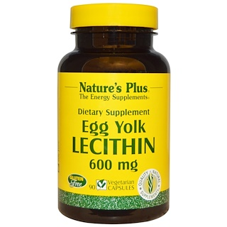 Nature's Plus, Egg Yolk Lecithin, 600 mg, 90 Veggie Caps