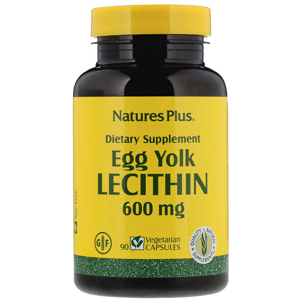 Nature's Plus, Lecitina de yema de huevo, 600 mg, 90 cápsulas vegetarianas