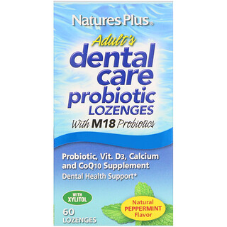 Nature's Plus, Пробиотик Adult's Dental Care с натуральным мятным вкусом, 60 леденцов