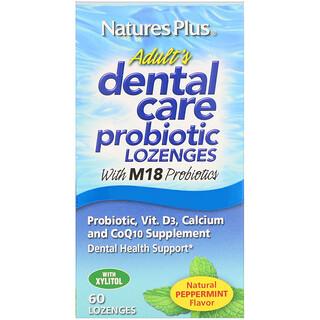 Nature's Plus, Probiótico para Cuidados Dentais de Adultos, Sabor Natural de Hortelã, 60 Pastilhas