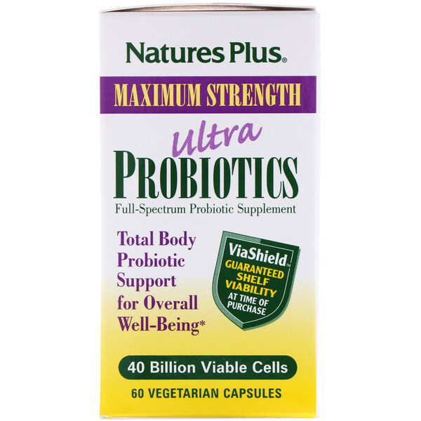 Nature's Plus, Ultra Probiotics, 40 Billion Viable Cells, 60 Vegetarian Capsules