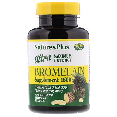 Купить Bromelain Supplement 1500 (бромелайновая добавка), максимальная эффективность, 60 таблеток