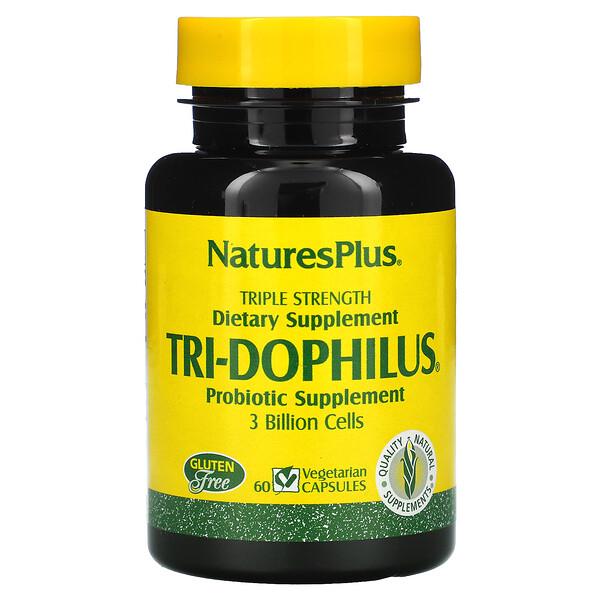 Nature's Plus, Tri-Dophilus, Probiotic Supplement, Triple Strength, 3 Billion, 60 Vegetarian Capsules (Discontinued Item)