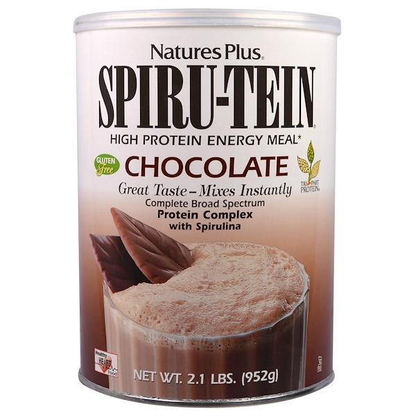 Nature's Plus, Spiru-Tein,高蛋白質能量粉,巧克力味,2、1磅(952克)