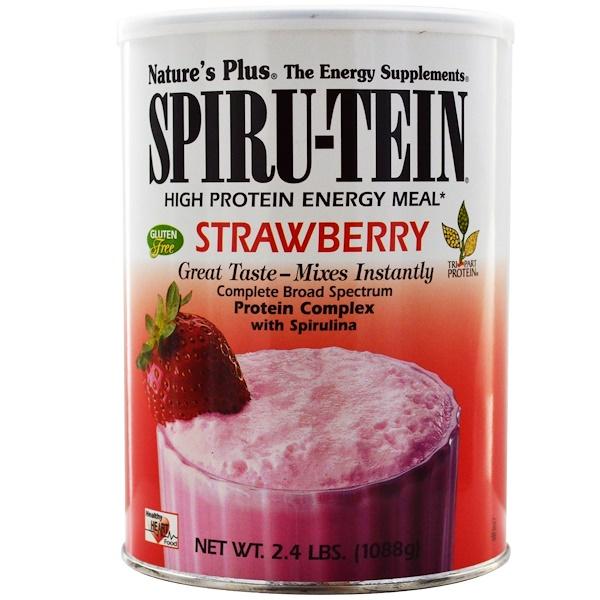 Nature's Plus, Spiru-Tein,高蛋白質能量餐,草莓,2、4 磅 (1088克)
