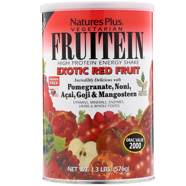 Nature's Plus, Fruitein, High Protein Energy Shake, Exotic Red Fruit, 1.3 lbs (576 g) (Discontinued Item)