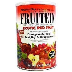 Nature's Plus, Фрутеин, энергетический коктейль с высоким содержанием белка, экзотические красные фрукты, 1,3 фунта (576 г)