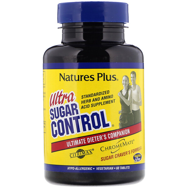 Nature's Plus, Ultra Sugar Control, Companhia Definitiva para Dietas, 60 Comprimidos