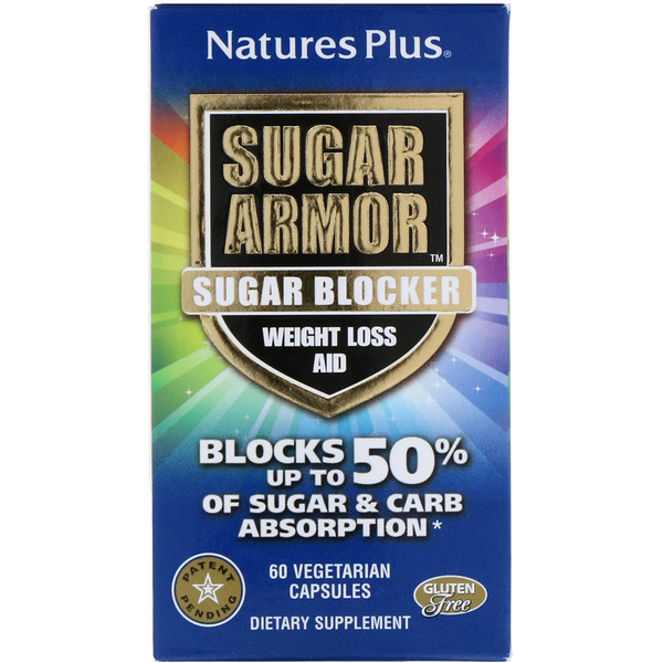 Nature's Plus, Sugar Armor, Sugar Blocker, Weight Loss Aid, 60 Vegetarian Capsules