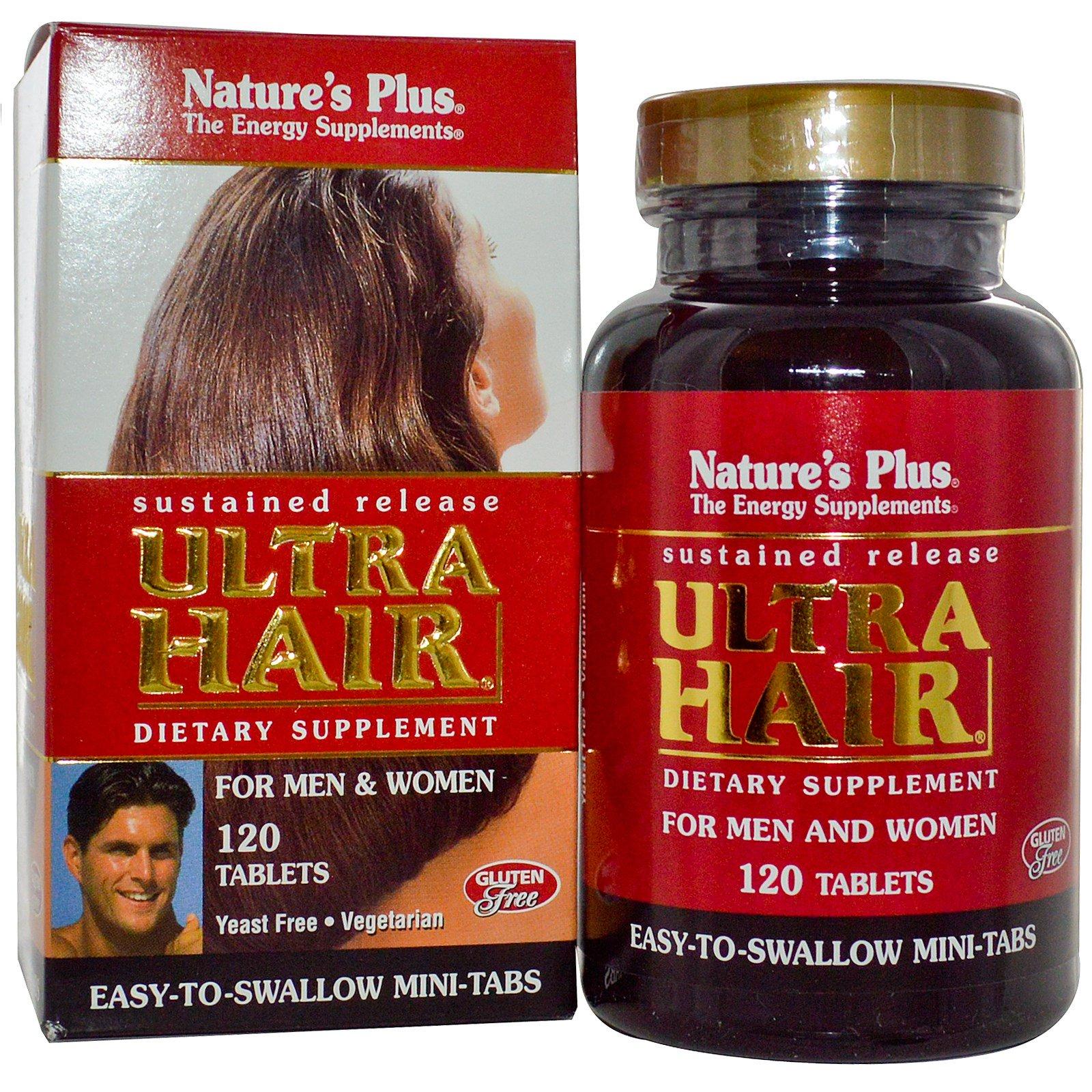 Nature's Plus, Ультра Волосы, устойчивое высвобождение для мужчин и женщин, 120 таблеток