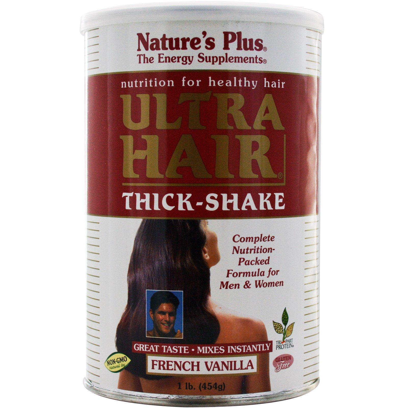 Nature's Plus, Густой коктейль «Ультра волосы, французская ваниль, 1 фунт (454 г)