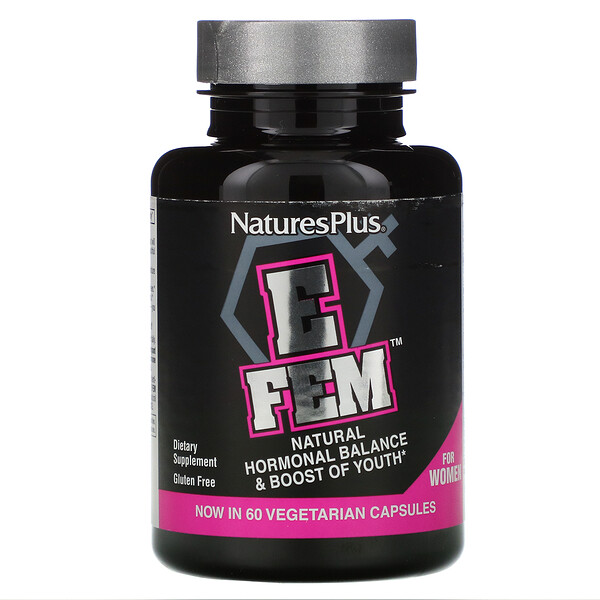 Nature's Plus, E Fem for Women, Natural Hormonal Balance & Boost of Youth, 60 Vegetarian Capsules