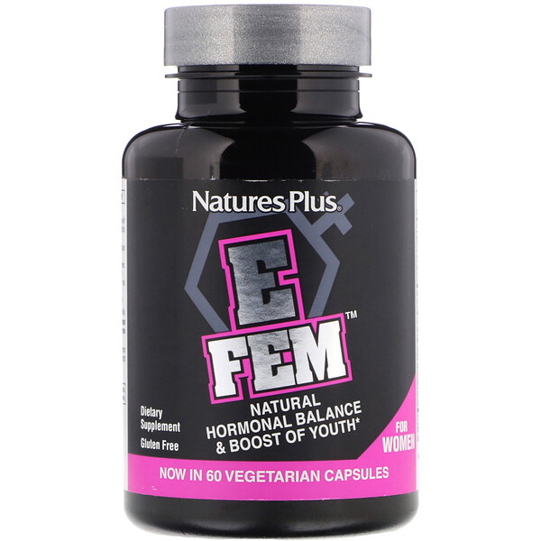 E Fem for Women, Natural Hormonal Balance & Boost of Youth, 60 Vegetarian Capsules