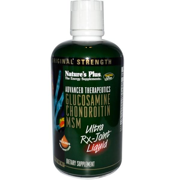 Nature's Plus, 高級療法,氨基葡萄糖軟骨素二甲基砜超級關節治療,蜂蜜檸檬味, 30液體盎司 (887 毫升)