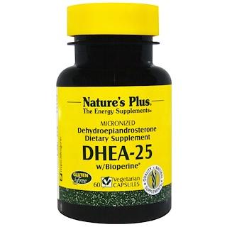 Nature's Plus, DHEA-25、バイオペリン入り、60ベジキャップ