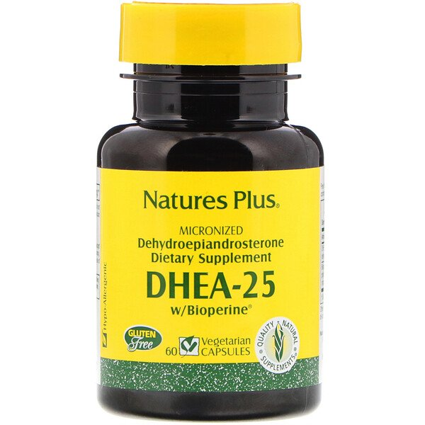 Nature's Plus, DHEA-25 With Bioperine, 60 Vegetarian Capsules
