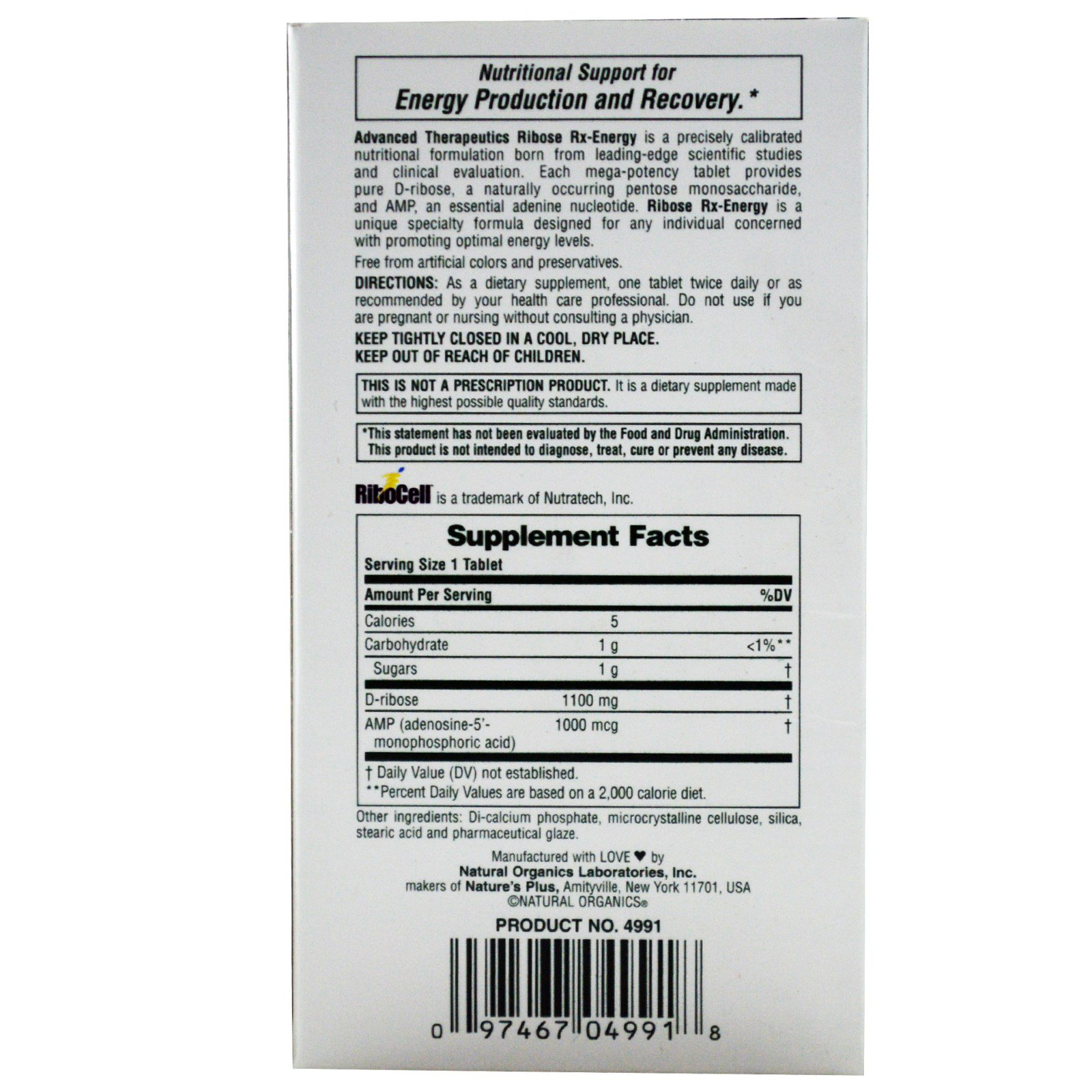 Remarkable Natures Plus Advanced Therapeutics Ribose Rx Energy 60 Tablets Discontinued Item Pabps2019 Chair Design Images Pabps2019Com